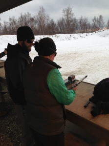 Justin patiently explains how to load and fire the .22, which turned out to be remarkably less terrifying than I'd anticipated.