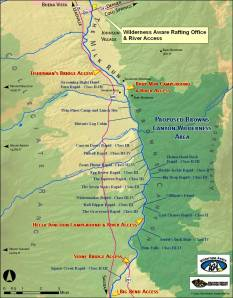 The Arkansas from Ruby Mountain to Hecla Junction, with named rapids. (Photo: Wilderness Aware Rafting.)