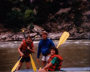 Left to right: My dad, my Uncle Mark, who was guiding on the Colorado at the time, and my Aunt Susan, all looking young and tan and happy. (Photo courtesy of Susan Dix)